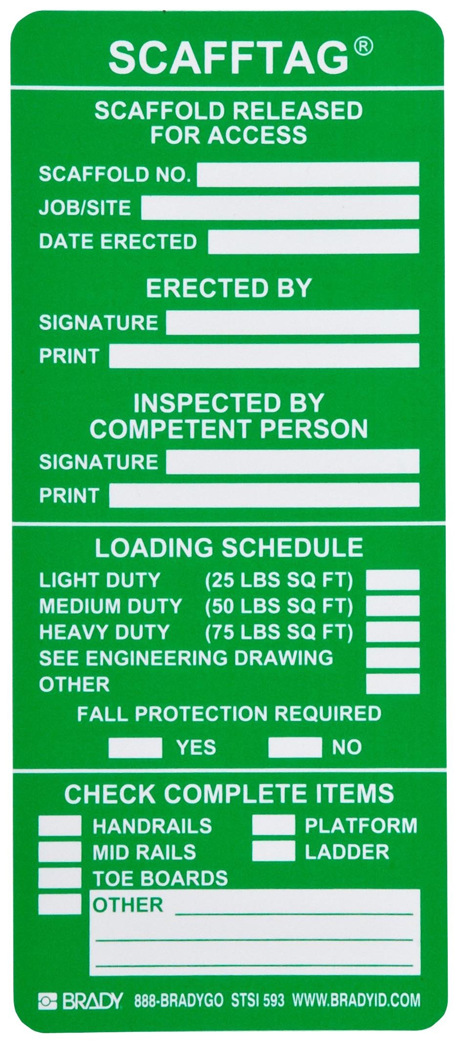 Brady SCAF-STSI593 7-5/8'' Height, 3-1/4'' Width, Polyester, Green Color Scafftag Inspection Inserts (Pack Of 100) by Brady