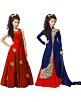 Market Magic World Girl's Red & Blue Banglori Semi Stitched Combo Pack lehenga Choli, Salwar Suit, Gown (Kids Wear_Free Size_8-12 Year age)