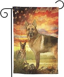 German Shepherd Dog Garden Flag - American Flag Home Decorative Us Pet House Yard Flags Double Sides Seasonal Decor