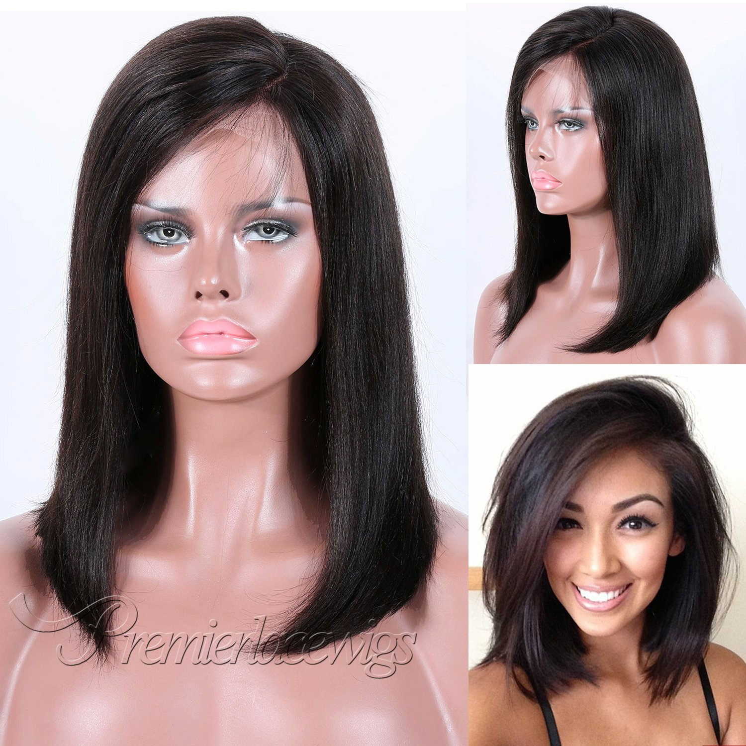 Amazon.com : Premier Bob Lace Front Wigs Short Human Hair Wigs for Women 160% Density Brazilian Light Yaki Straight Hair improved 4.5