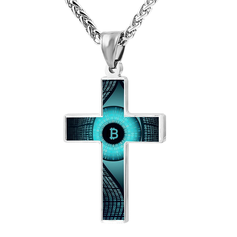 bitcoin eyes Unique Print Cross Necklace Pendant Religious Jewelry For Men Women Girl Boy