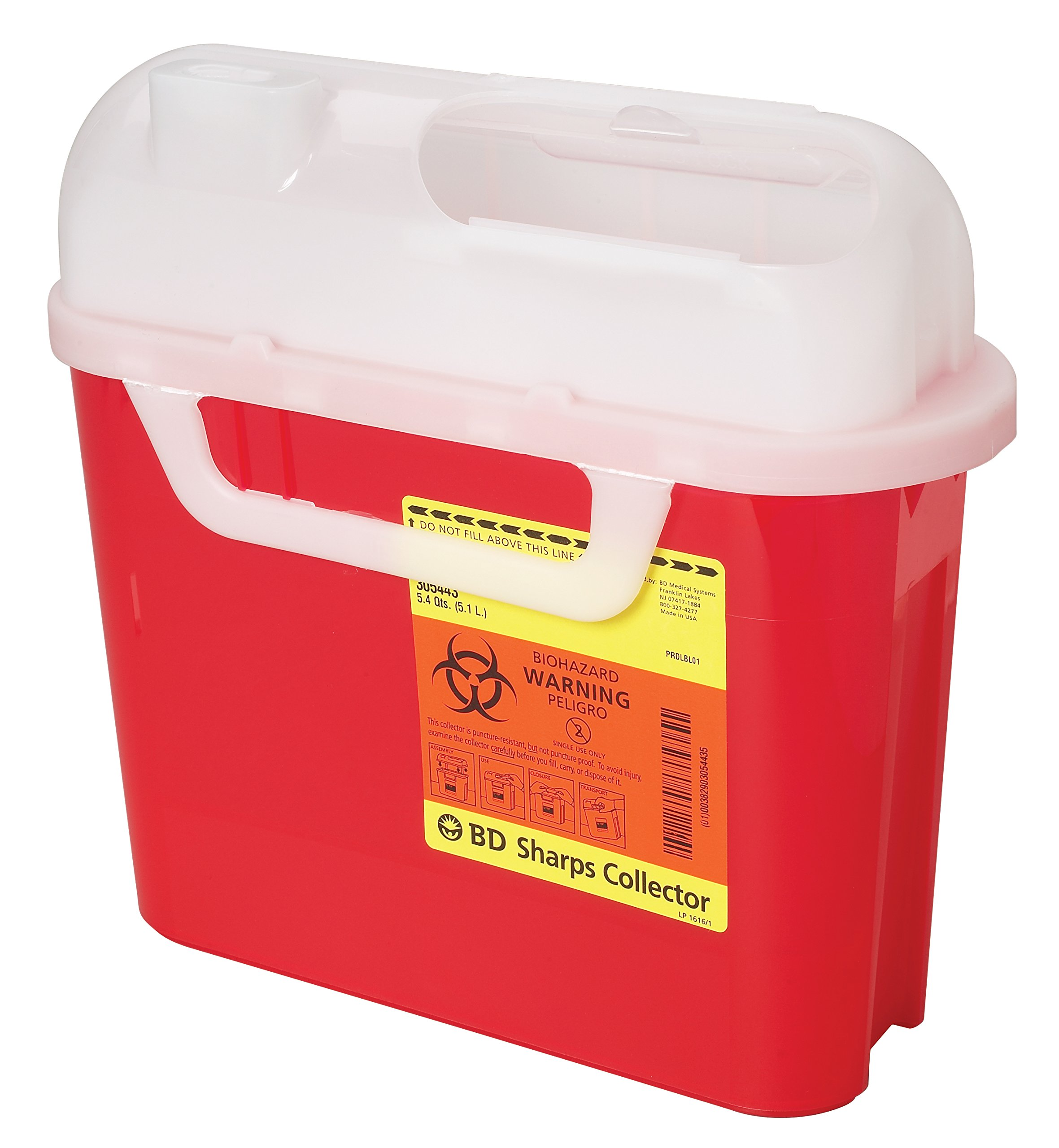 BD Medical Systems 305444 Sharps Collector, Side Entry, 5.4 quart Capacity, 10.75'' Height x 12'' Width x 4.5'' Depth, Pearl (Pack of 20)
