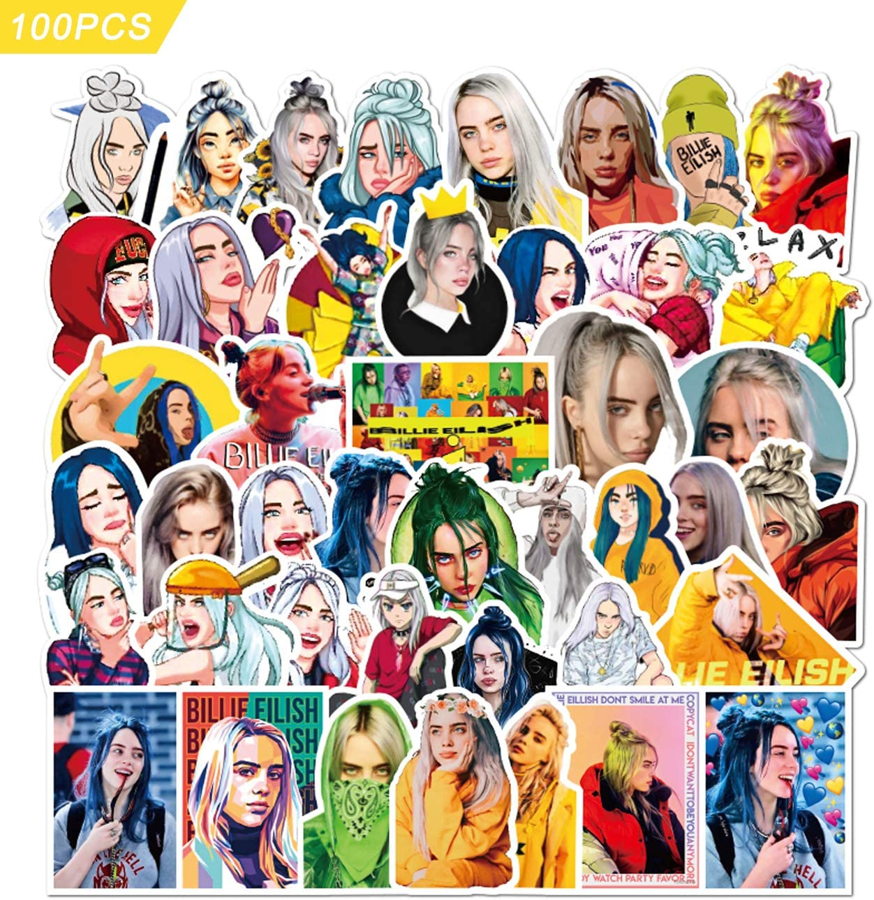 Billie Eilis_h Stickers Lnight 100 pcs Laptop Sticker Pack Vinyl Waterproof Stickers for Kids Adults Teens Luggage Car Computer Decals Stickers