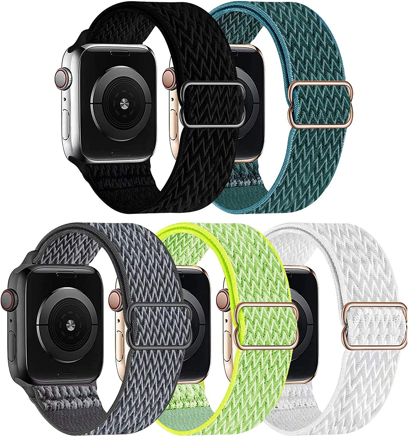 GBPOOT 5 Packs Nylon Stretch Band Compatible with Apple Watch Bands,Adjustable Soft Sport Breathable Loop for Iwatch Series 6/5/4/3/2/1/SE,Black/Pine Green/Storm Gray/Flash Light/White,38/40mm