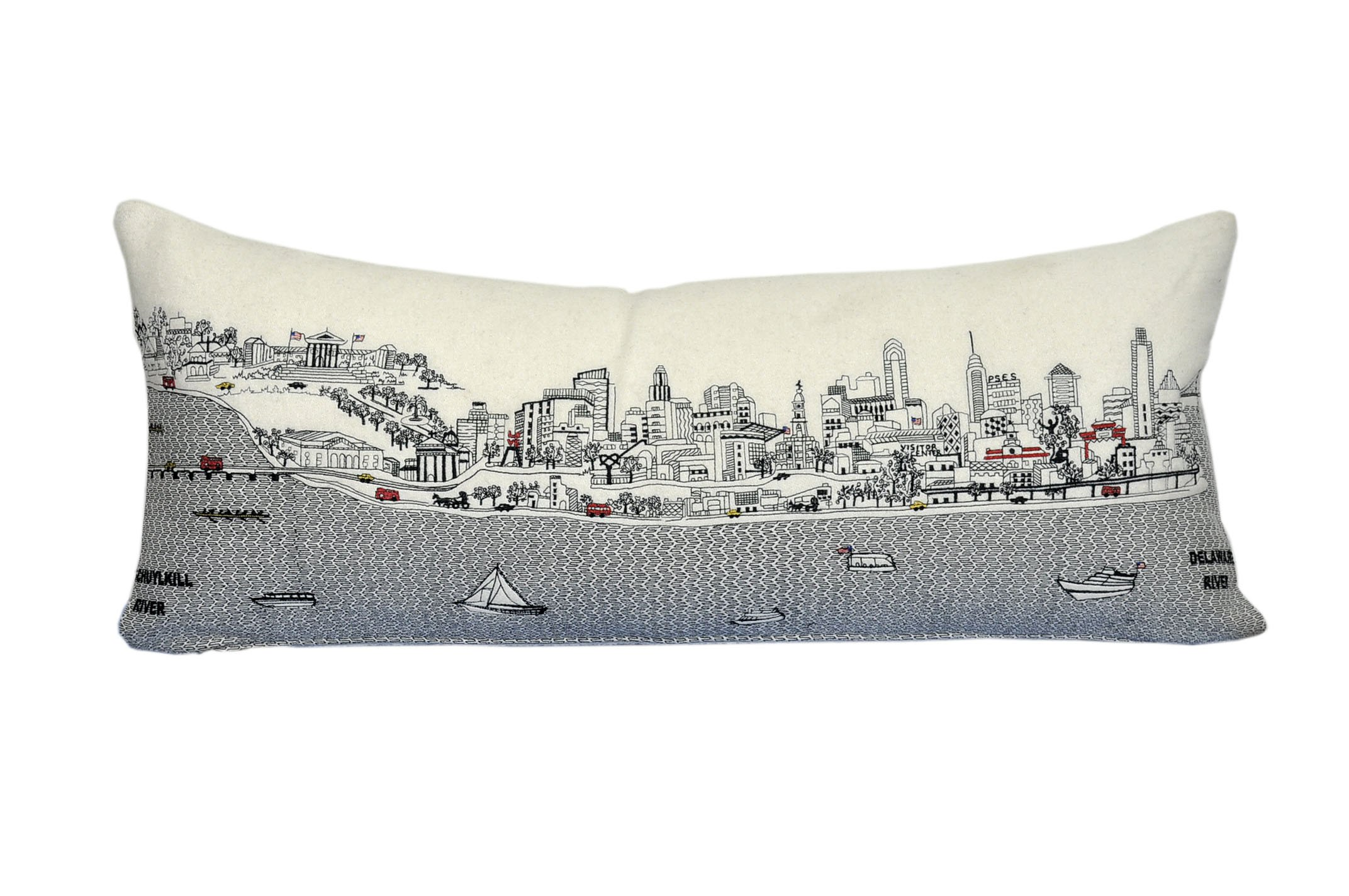 Beyond Cushions Polyester Throw Pillows Beyond Cushions Philadelphia Daytime Skyline Queen Size Embroidered Pillow 35 X 14 X 5 Inches Off-White Model # PHI-DAY-QUN