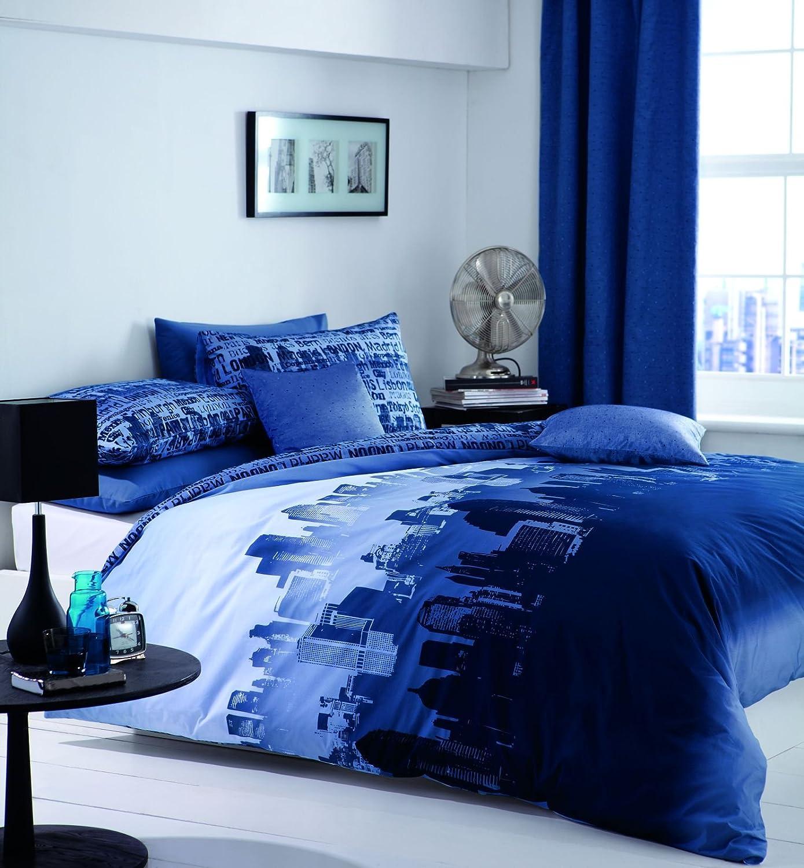 Catherine Lansfield City Scape Easy Care Double Duvet Set Blue BDB3 1411 WDHQN