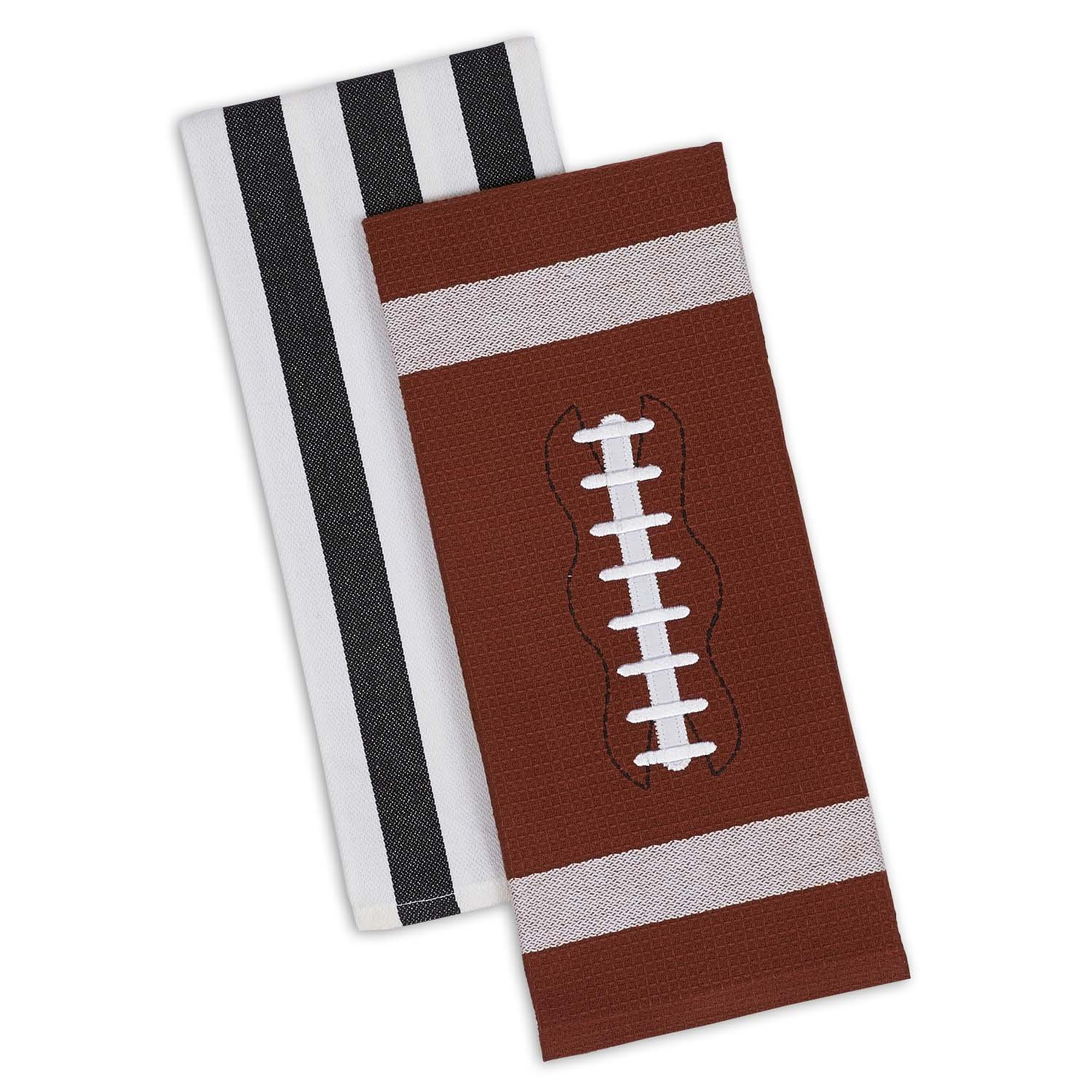 DII 100% Cotton, Machine Washable, Everyday Kitchen Basic Printed Game Day Dishtowel, 18x28'', Set of 2- Football & Stripes