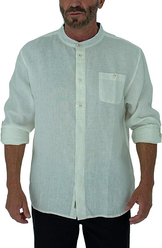 WAWAYA Mens Print Stylish Chinese Style Mandarin Collar Button Up Linen Shirts