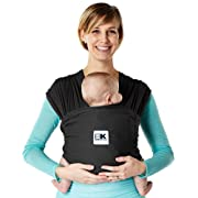 Baby K'tan - Breeze Baby Carrier, Natural Cotton Mesh Sling Wrap, Multiple Ways to Wear – Black, Large