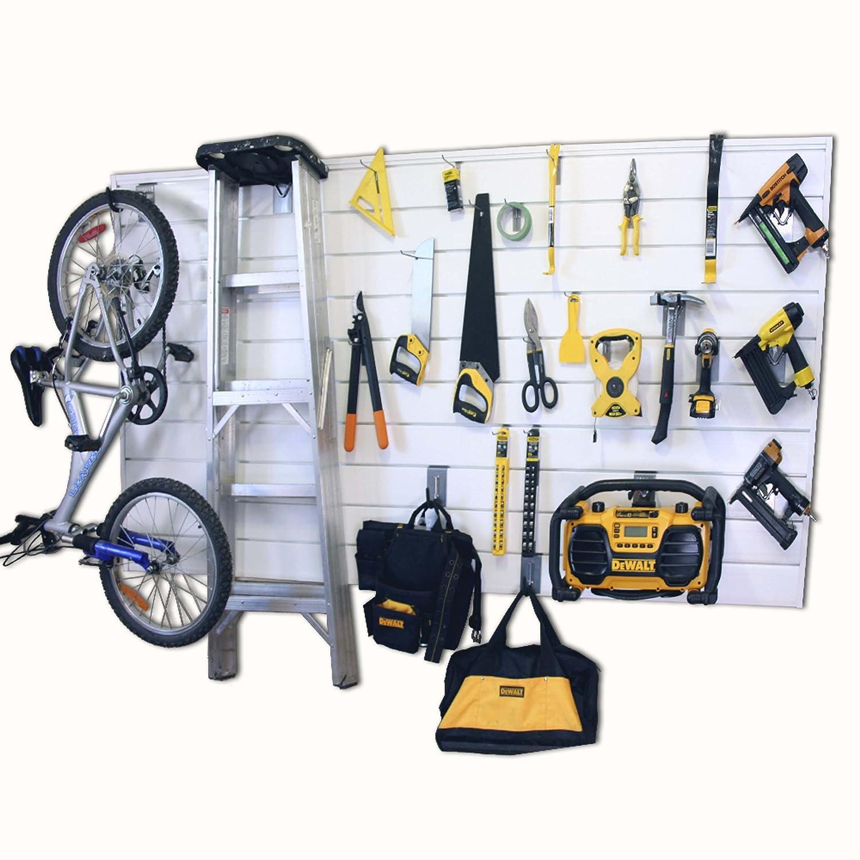 Proslat 88104 Heavy Duty PVC Slatwall Garage Organizer Charcoal 4-Feet by 4-Feet Section