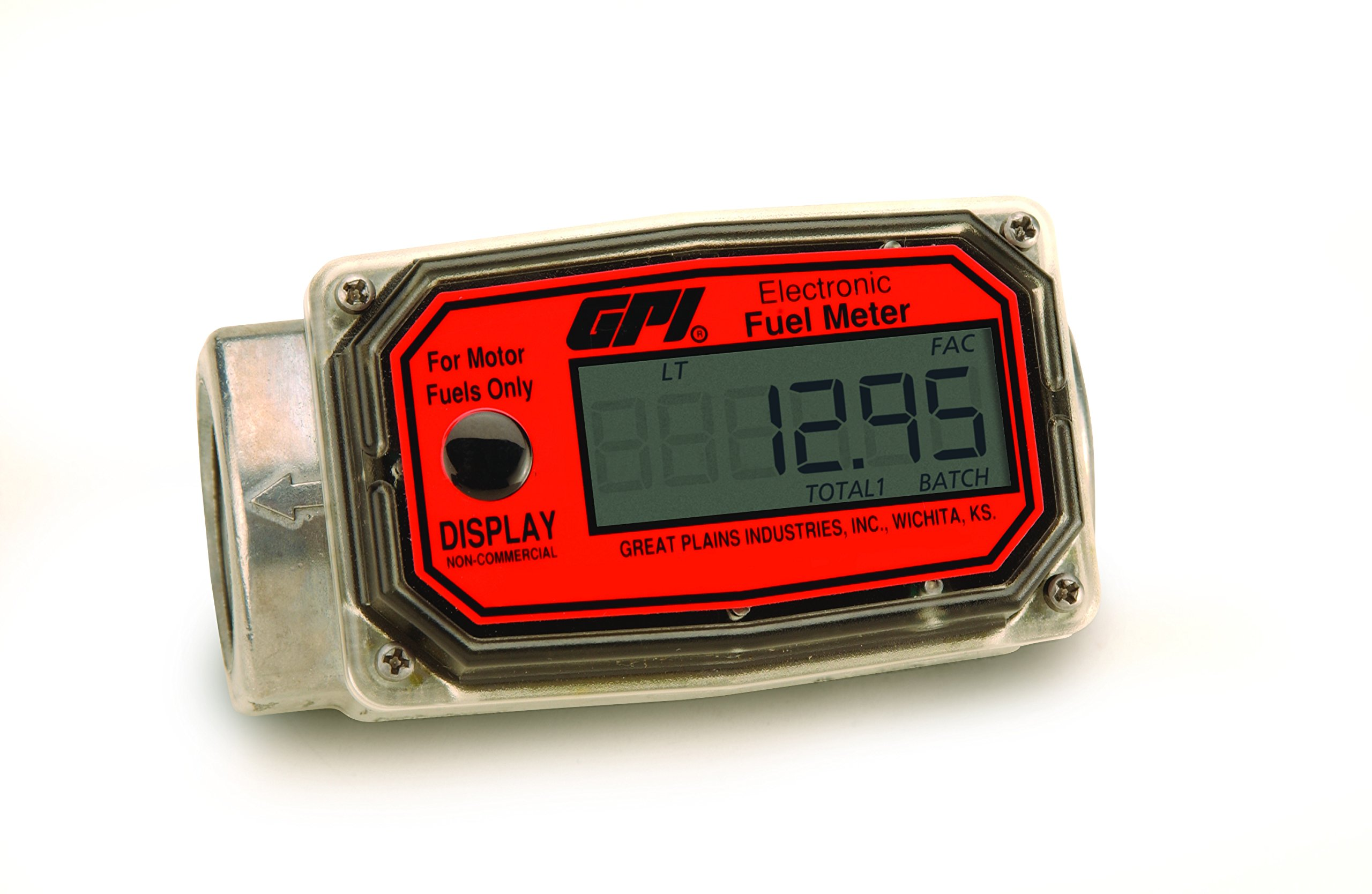 GPI 113255-2, 01A31LM Aluminum Turbine Fuel Flowmeter with Digital LCD Display, 10-100 LPM, 1-Inch FNPT Inlet/Outlet, 0.75-Inch Reducer Bushings