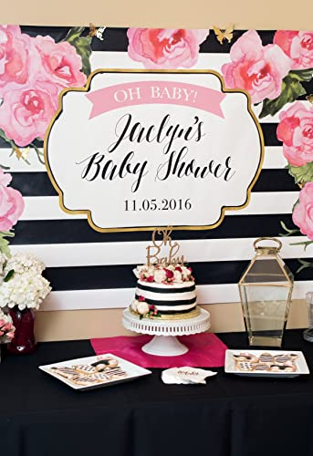 Amazon Com Striped Party Backdrop Sign Shower Decor Baby Shower Or