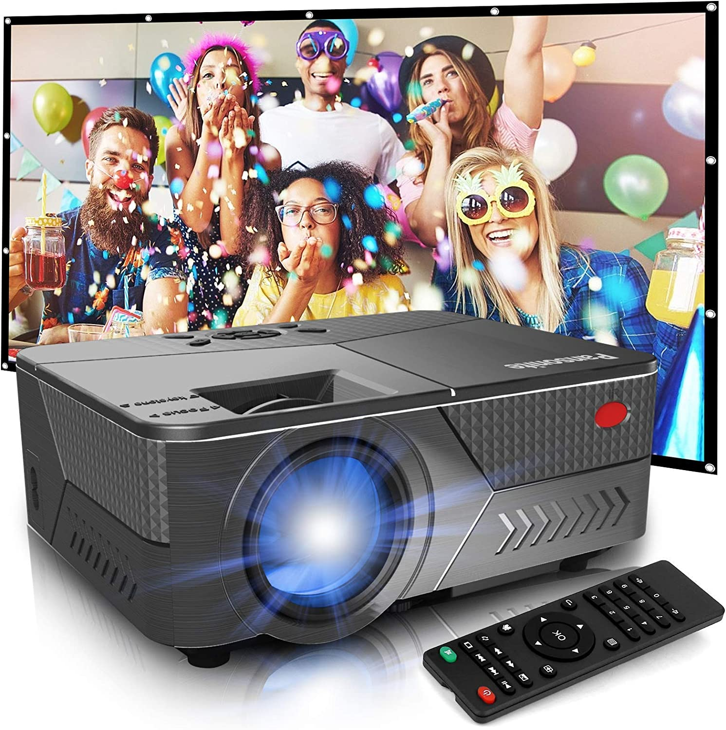 Pansonite Projector with 120 inch Projector Screen,High Lumens Projector for Outdoor Movies Support 1080P and 16:9 Foldable Wrinkless Projection Screen