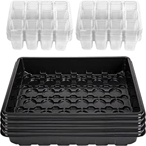 Wehhbtye 192Cells Mini Garden Starter Trays - 4Pack of 48 Cell Garden Plant Starter Tray with Base for Plant Germination Growing Starting