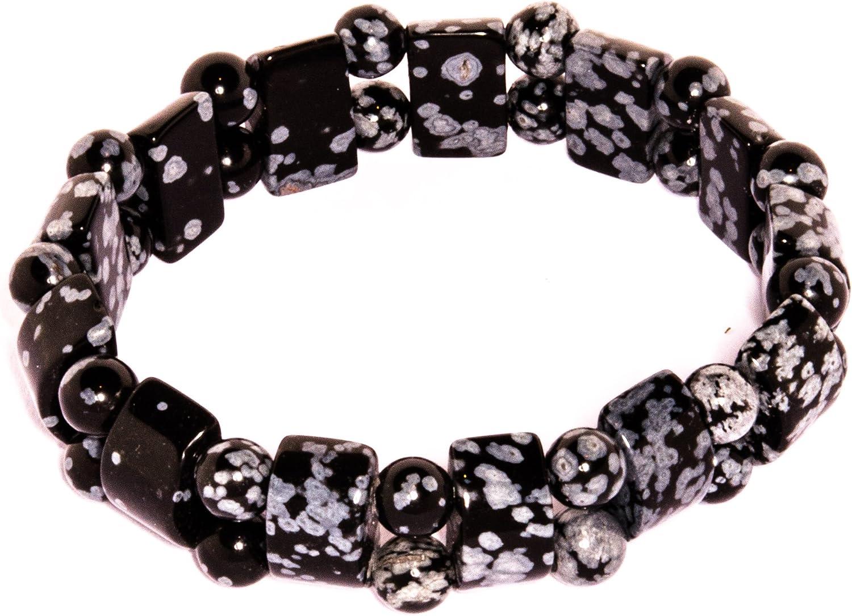 Joyas minerales schoener-Mineralischmuck / madre : obsidiana de copo de nieve (puente), ancho aprox. 15 mm, tamaño de la pulsera aprox. 19 cm, número de modelo 4997