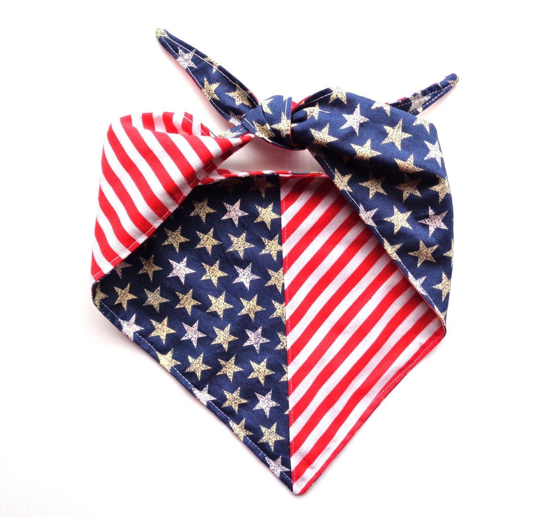 Large Stars Stripes Reversible Patriotic Tie On Dog Bandanna or Human Headband Red White Blue Neckwear