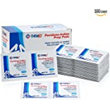 Iodine Prep Pads - (Box of 100 Count) Iodine Prep Solution Pads, 10% Povidone Iodine Swabs for Individual Disinfecting Wipes, Disposable Cotton Antiseptic Surgical Pad for Wound Care, and First Aid