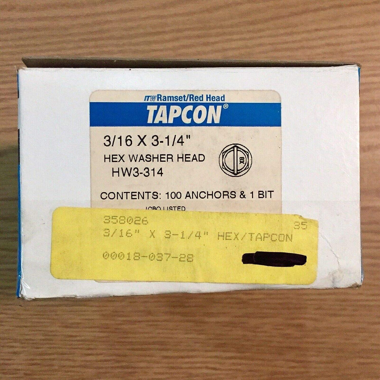 `Red Head 3//16 x 3 1//4 Tapcon Concrete Anchors Hex Head USA Made Box of 100