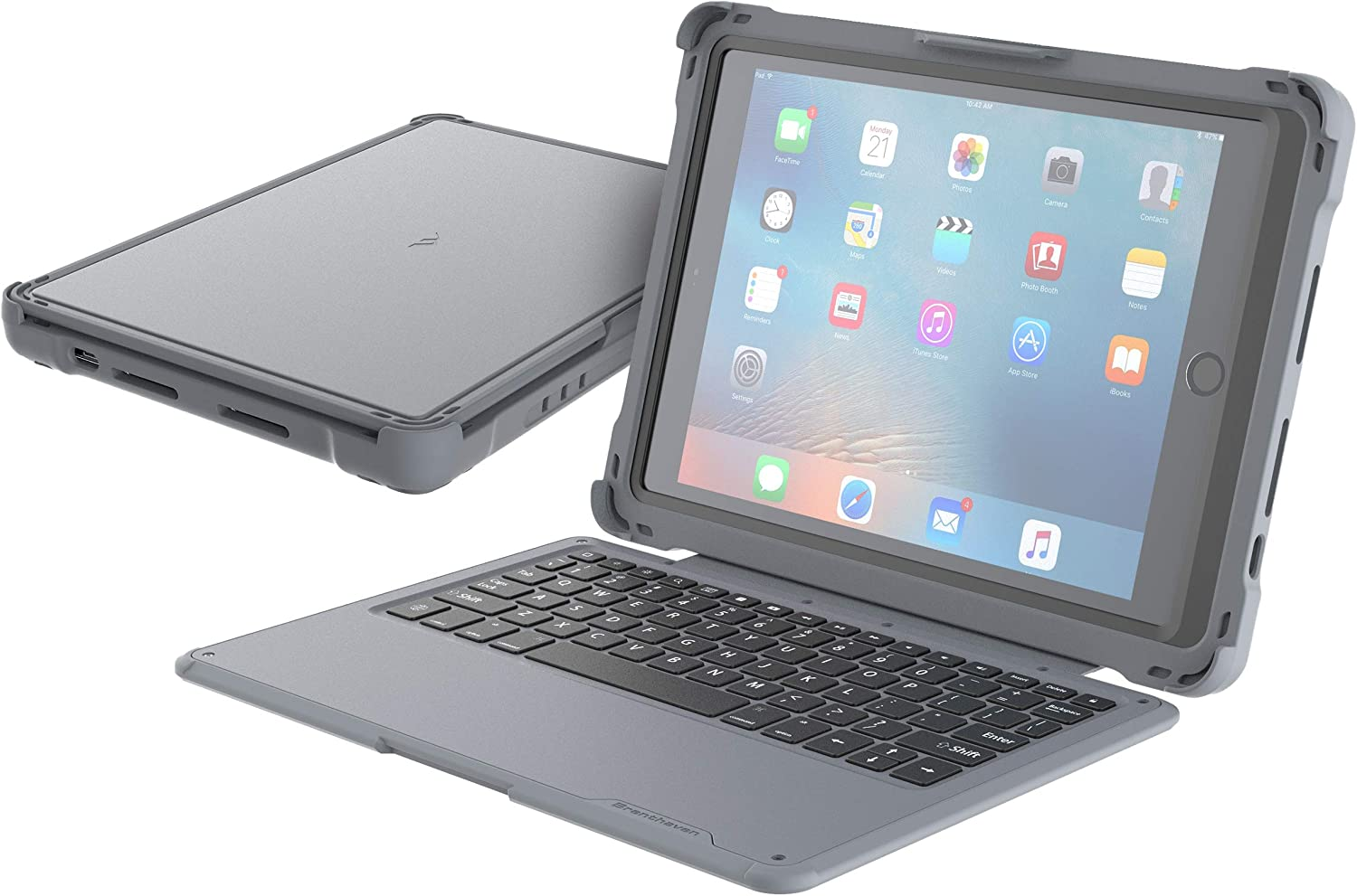Brenthaven Edge Click-Connect Keyboard Case for Apple iPad 9.7 (5th Gen & 6th Gen) for School and Office Use - Durable, Rugged Protection with Keyboard and Stand