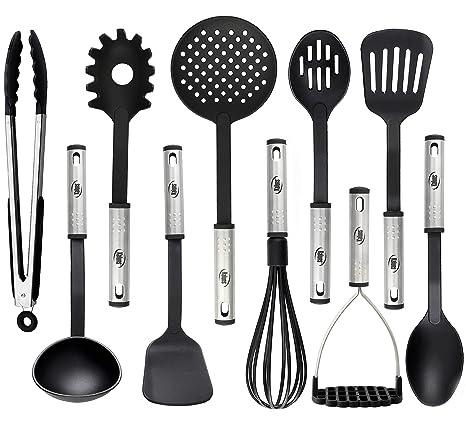 Amazon.com: Juego de utensilios de cocina de nailon y acero ...