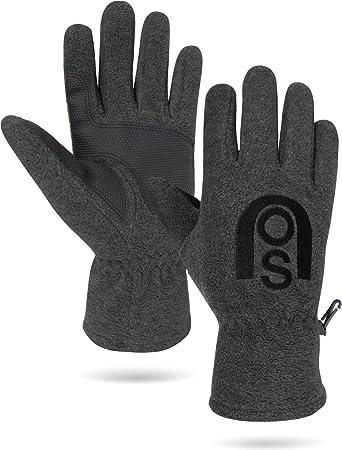 b27f8502115c27 normani Winter Fleece Handschuhe Schwarz mit Thinsulatefütterung bis -10  Grad Farbe Anthrazit Größe 3XL