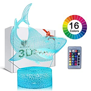 3D Illusion Shark Night Lamp 16 Color Change Touch White Crack Base Power by AA Batteries with Remote Control