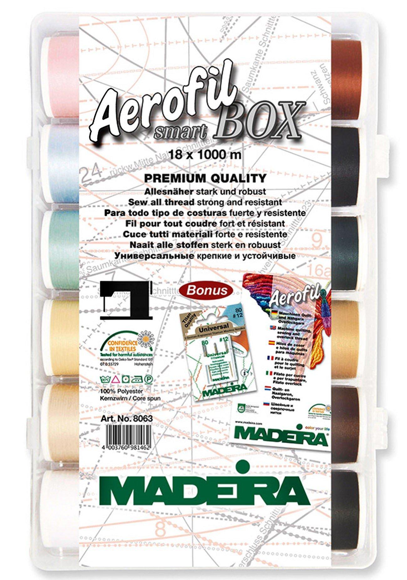 Madeira 91268063 SmartBox Aerofil 120 18 Spool Set, 1100 yd by Madeira