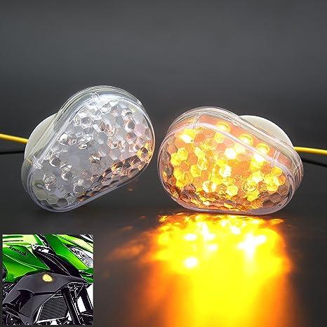 2Pcs Universal CLear Flush Mount LED Turn Signal Light Indicator Lamp- for Kawasaki Ninja ZX-6R(636) ZX-7R ZX-9R ZX-10R ZX-12R ZZR600 ZZR 600 start