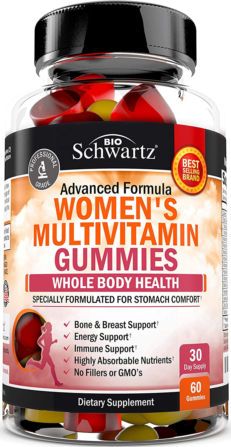 Women's Multivitamin Gummies with A, C, B6, B12, D & E Vitamins for Immune Support - Highly Absorbable Nutrients for Whole Body Health - Bone, Breast & Energy Support - 60 Gummies