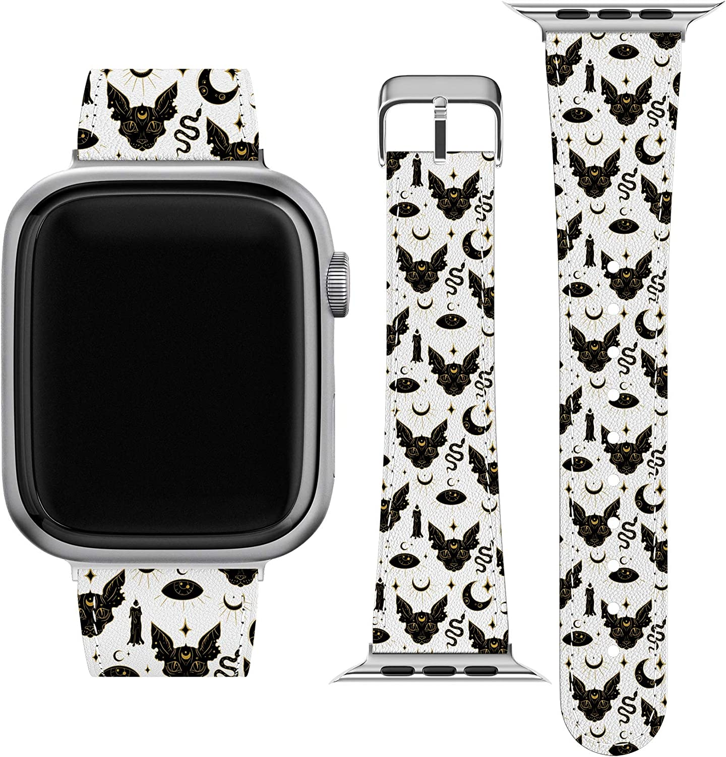 Lex Altern Band Compatible with Apple Watch Series 6 SE 5 4 3 2 1 38mm 40mm 42mm 44mm Print Occult Wristband Thin Sphynx Cat Stylish Eye Magic Durable Mystic Vegan Leather Witch Slim Strap wh311