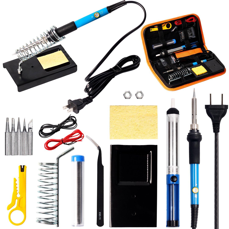HILDA Soldering Iron Kit, 60W 110V Adjustable Temperature Welding Soldering Iron,16-In-1 Soldering Tips,Soldering Iron Stand, Desoldering Pump, Tweeze
