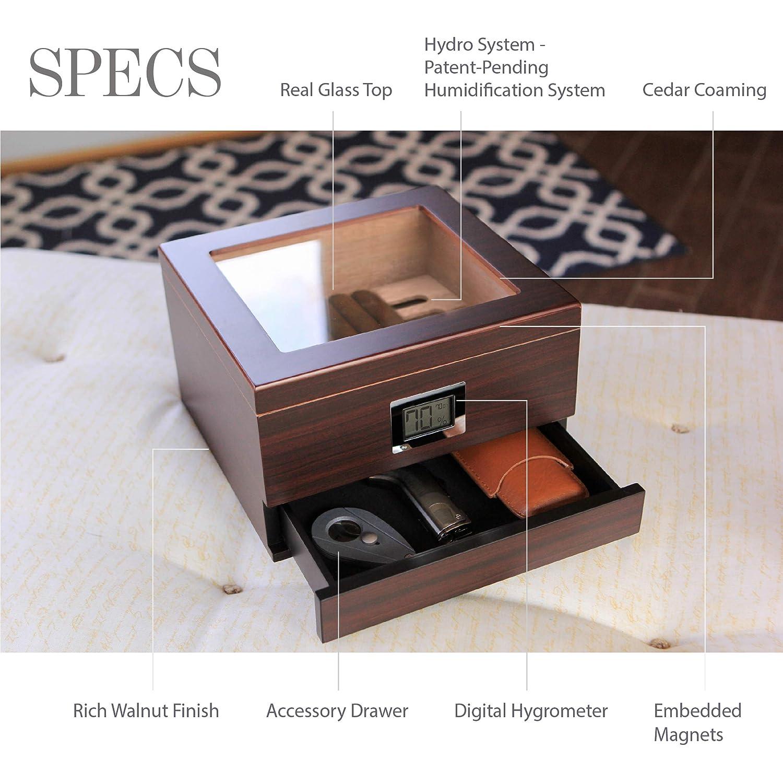 Tenuta di Case Elegance Umidificatore per sigari in legno di cedro lavorato a mano con coperchio in vetro e igrometro anteriore digitale e cassetto per accessori 25-50 sigari