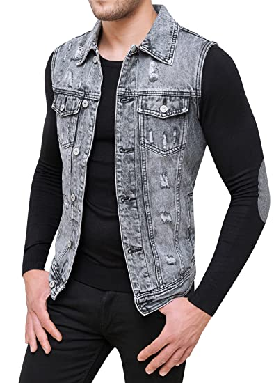 buy online 4051f a5349 Evoga Smanicato di Jeans Uomo Denim Giubbotto Gilet Casual ...