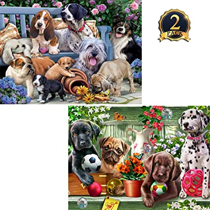 5D DIY Full Drill Diamond Painting Cute Dogs Cross Stitch Embroidery Kits