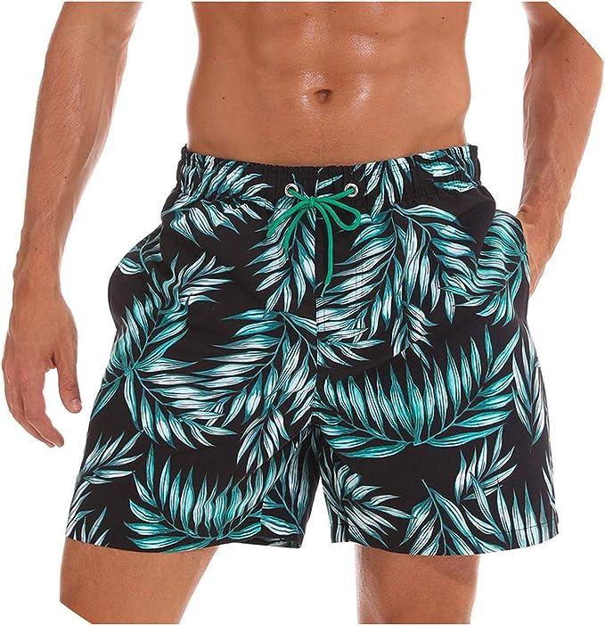 Mens Board Shorts Surf Swimwear Beach Short Summer Male Athletic Shorts Size 3XL,Blue,XXL