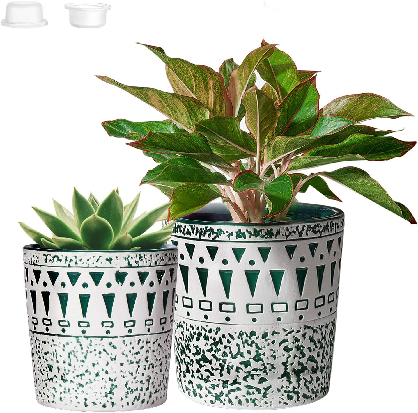 CeramicPlant Pots Garden Planters for Plants with Drainage Hole Flower potsIndoor Outdoor 4.9in+5.9in PARTNERO NordicModernWhite & GreenPack of 2 (Plant Not Included)