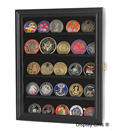 Military Challenge Coin Medal Display Case Cabinet Rack Holder Shadow Box  with Glass Door