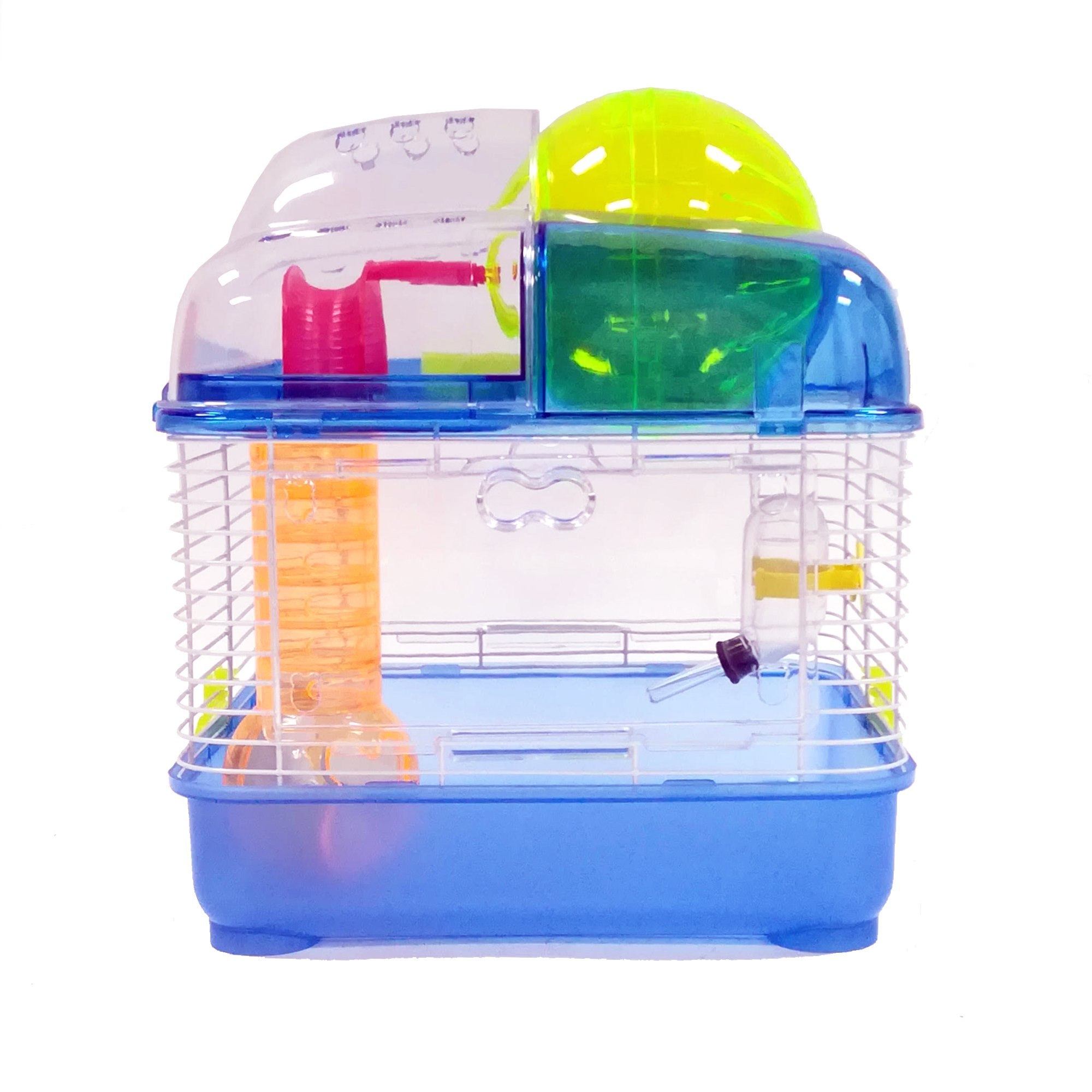 YML Clear Plastic Dwarf Hamster Mice Cage with Ball on Top, Blue