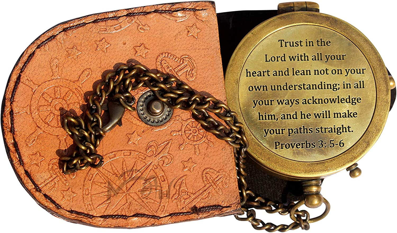 MAH Trust in The Lord with All Your Heart Engraved Compass, Proverbs 3: 5-6 Engraved Gifts, Confirmation Gift Ideas, Religious Gifts, Missionary Gifts with Leather Case. C-3004