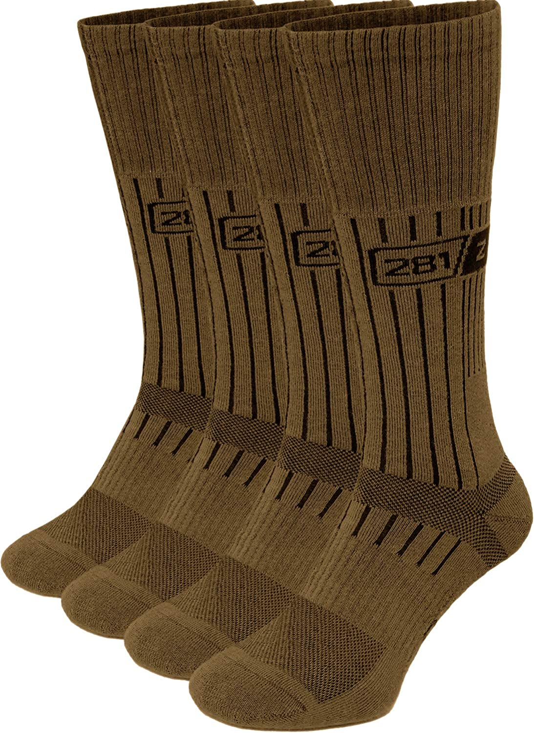 281Z Military Boot Socks - Tactical Trekking Hiking - Outdoor Athletic Sport (Coyote Brown)