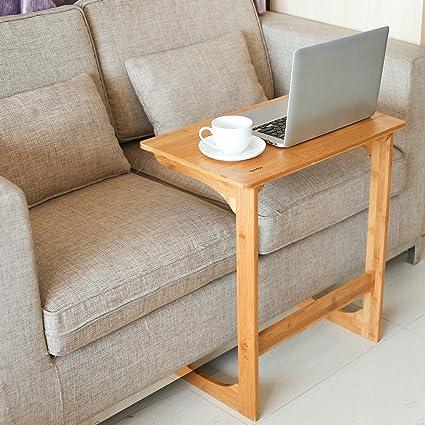 Homfa Mesa Para Sofa Mesa Auxiliar Mesa De Bambu Para Ordenador Mesa De Cafe Mesa De Escritorio Mesa Para Ordenador Bambu Natural