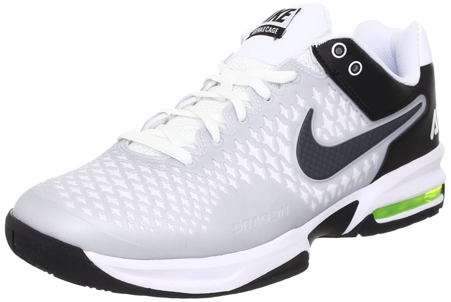 outlet store 5dd85 f1223 NIKE Men s Air Max Cage 554875 100 White Anthracite Black Tennis Sneaker