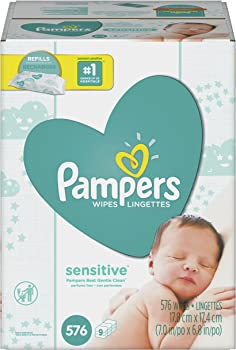 576-Count Pampers Sensitive Water Baby Wipes 9X Refill Packs