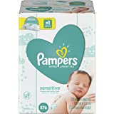 Pampers Sensitive Water Baby Wipes 9X Refill Packs, 576 Count