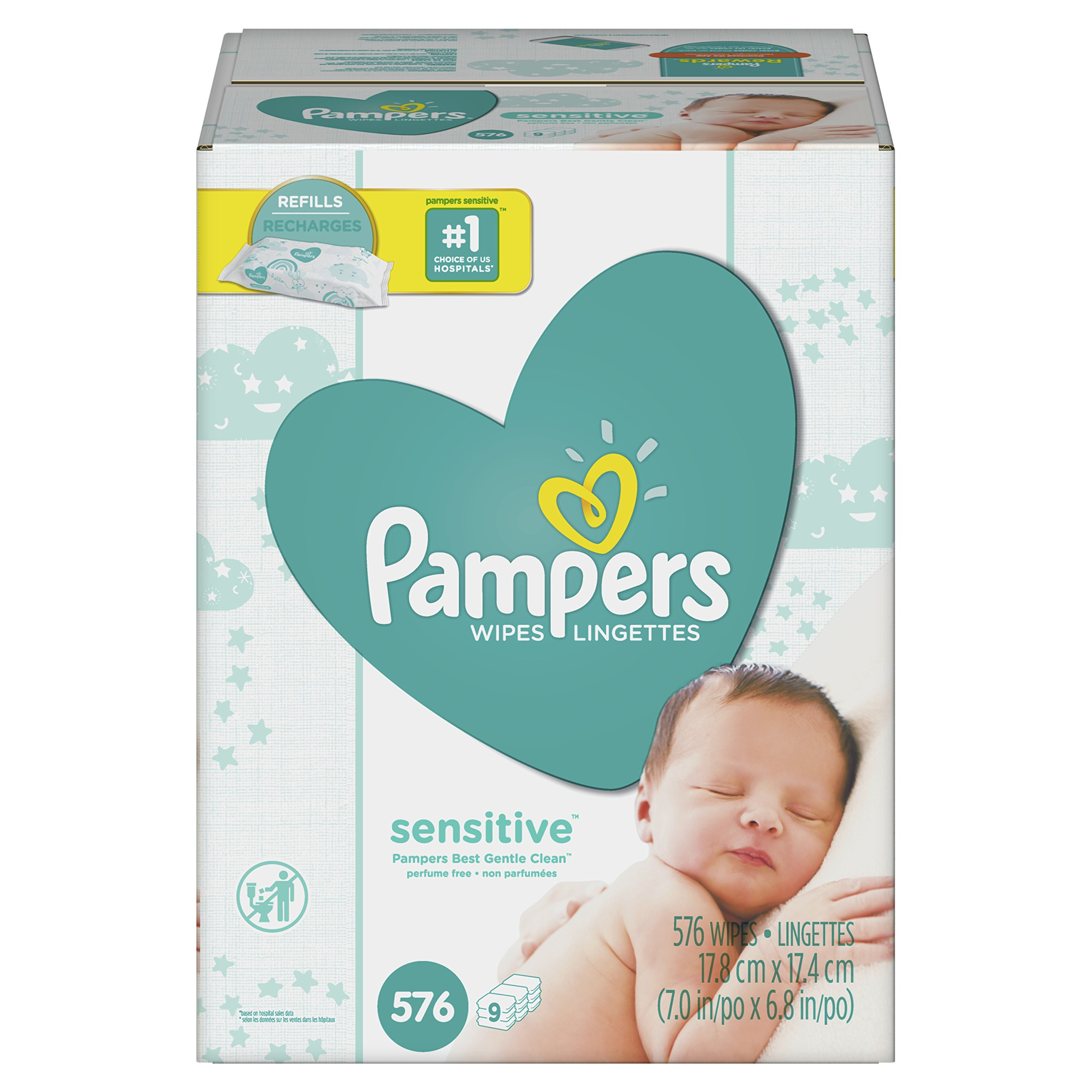 Pampers Sensitive Water-Based Baby Wipes 9X Refill Packs, 576 Count (Pack May