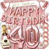40th Birthday Party Decorations Rose Gold Supplies Big Set for Women with Happy Birthday Banner and 40 Digit Balloons…