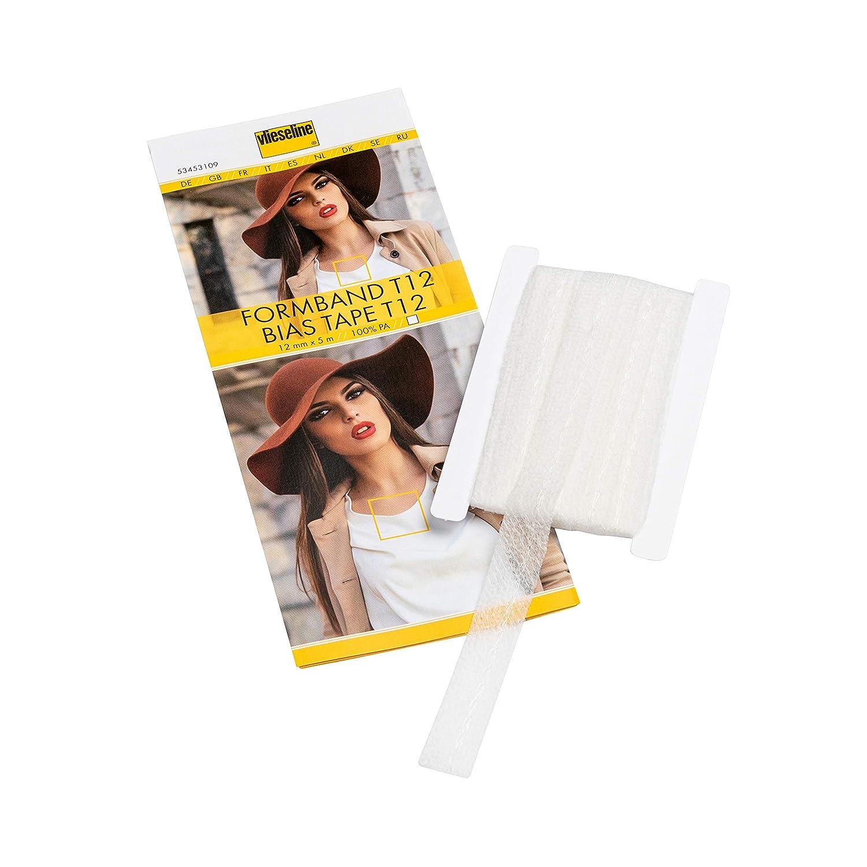 Color Blanco 5 m x 12 mm, se Aplica con Planchado Vilene Cinta al bies