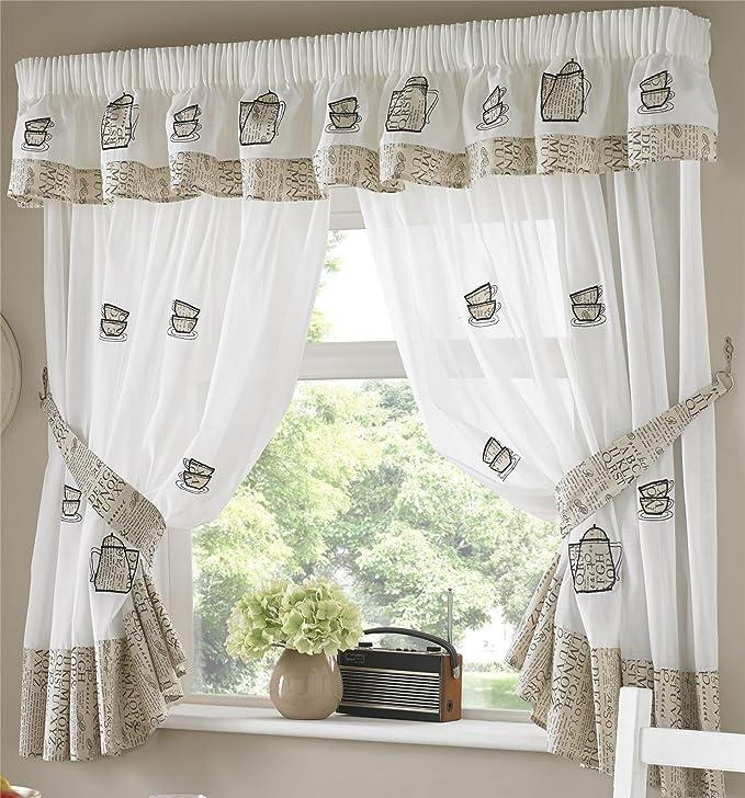 Amazon.de: Kaffeekannen Küche Vorhänge, inkl. Raffhaltern 167, 6 x ...