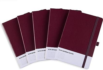Cuaderno Punteado Bullet Journal A5 de Tapa Dura con 3 Índice y 235 Páginas Numeradas, Bucle de Lápiz y Bolsillo Expandible(Pack 5 unidades, Borgoña): Amazon.es: Oficina y papelería