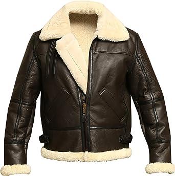 WWII Brown Bomber Genuine Leather RAF B3 Real Fur Men/'s Winter Fashion Jacket
